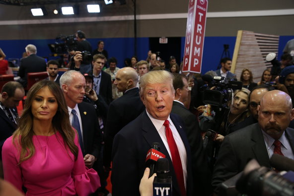 Donald Trump and Melania Trump in the spin room after the Republican presidential debate at the University of Miami in Coral Gables, Fla., on March 10.