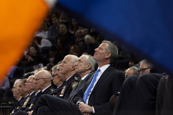 Mayor Bill de Blasio attended the New York City Police Academy's graduation ceremony at Madison Square Garden this month.
