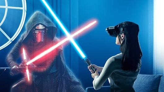 """The """"Star Wars: Jedi Challenges"""" game requires players to wear the Lenovo Mirage augmented reality (AR) headset. While wearing this, the game will be overlaid onto the real world, allowing players to battle enemies with the Lightsaber controller that comes with the game."""