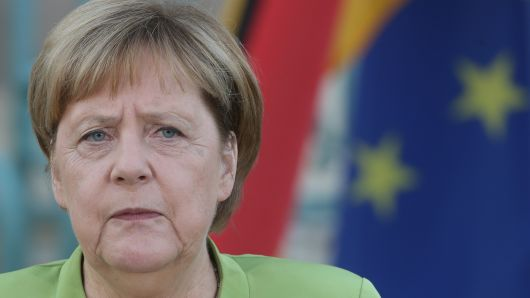 German Chancellor Angela Merkel speeches during her meeting with Russian President Vladimir Putin (not pictured)  at Meseberg governmental house August 18, 2018 in Gransee, Germany.