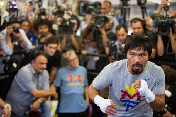Manny Pacquiao during a 2015 workout before he faced Floyd Mayweather. In August, he will face Errol Spence Jr. for a welterweight title.