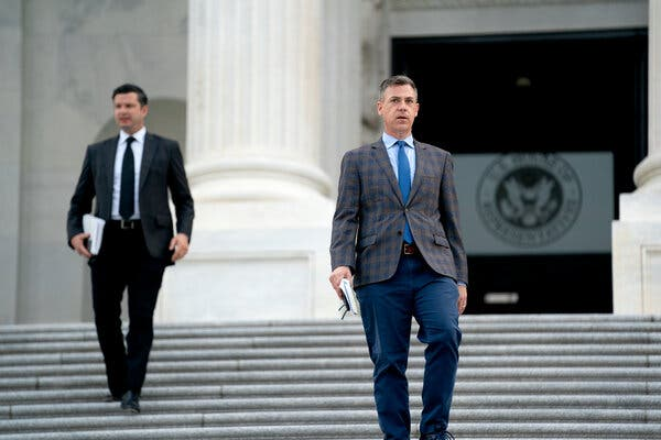 Representative Jim Banks departing the Capitol on Monday. He is among the loyalists that the minority leader Representative Kevin McCarthy has chosen to sit on the House committee investigating the Jan. 6 riot.