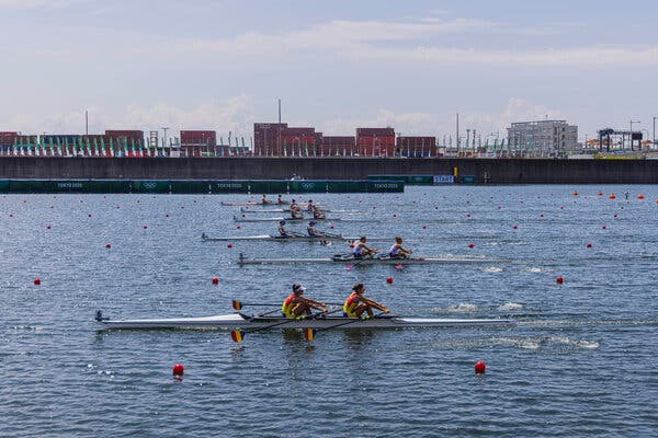 Rowing at Sea Forest Waterway in Tokyo on Thursday.